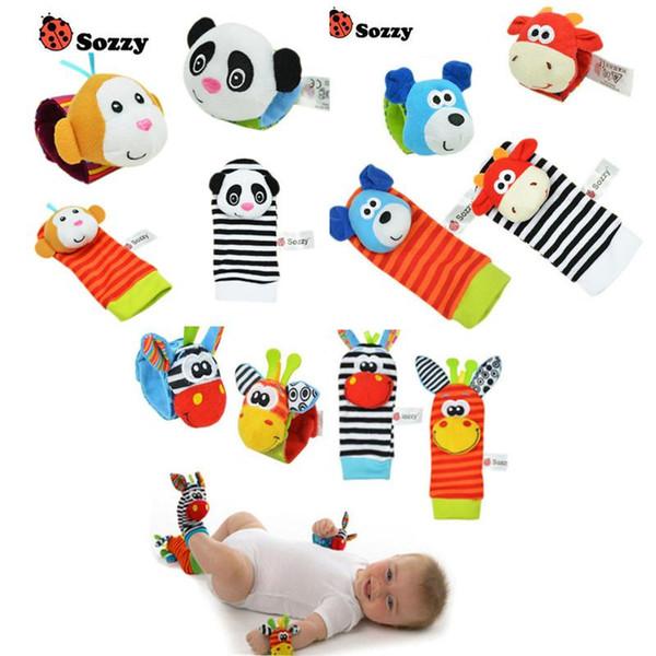 Atacado-bebê chocalho brinquedos de pulso pé localizador pequeno bebê macio menino brinquedo para 0-12 meses infantil infantil recém-nascido meias brinquedos de pelúcia