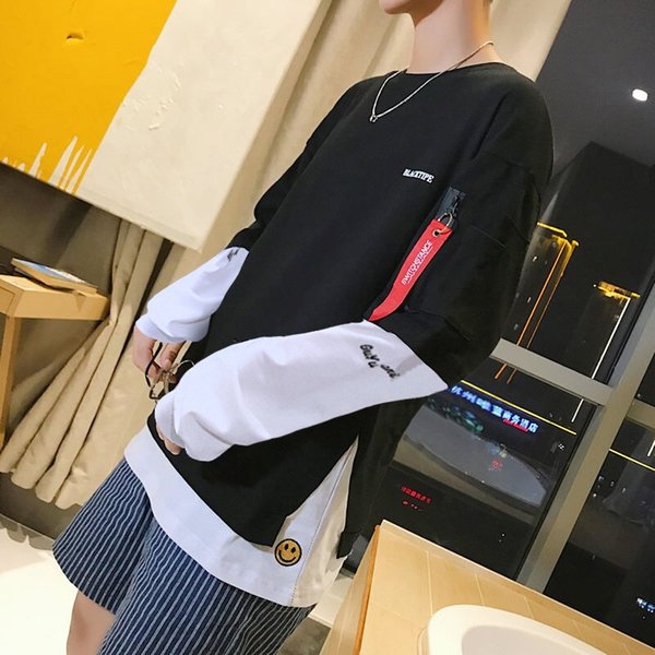 Designer brand 2019 spring sweater new fake two-piece round neck men plus fat large size loose jacket Korean version of the tide men's cloth