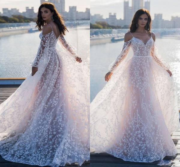 2019 New Fashion Specail Lace A Line Wedding Dresses Summer Beach Bridal Gown Spaghetti Straps Long Sleeves Fairy Illusion Tulles AL2032