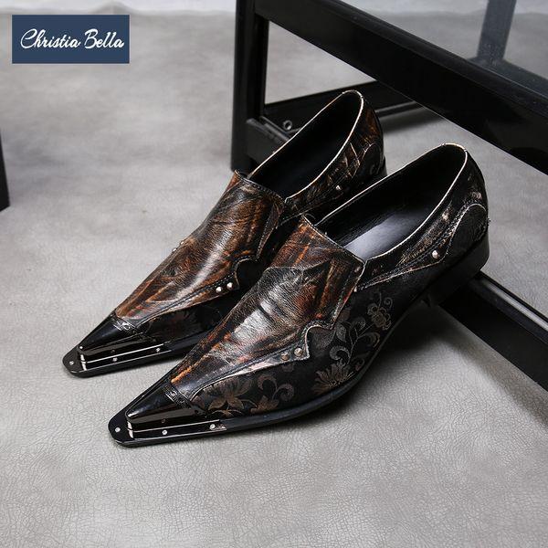 Christia Bella Baskı Hakiki Deri Erkek Ofis Ayakkabı Moda Patchwork Büyük Boy Sivri Burun Resmi Parti Elbise Ayakkabı üzerinde Kayma