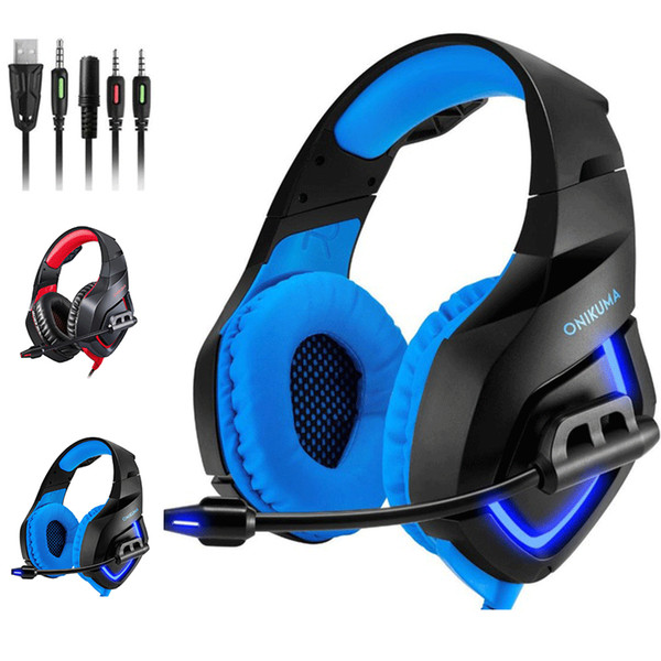 K1-B Gaming Headset Stereo LED Backlit Earphone Noise Cancelling Headphones With Mic Compatible Mac PS PC Xbox One Controller
