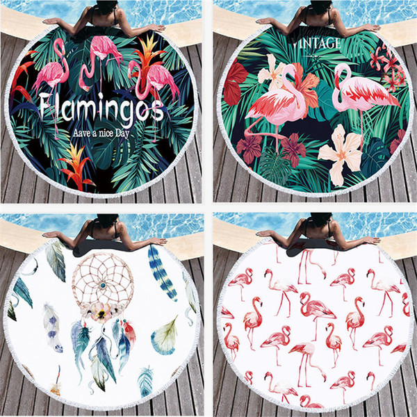 Alta Qualidade Rodada Toalha De Praia Com Flamingo Impresso Microfibra 150 cm Para O Verão Natação Piquenique Tapestry Cobertor GT-071