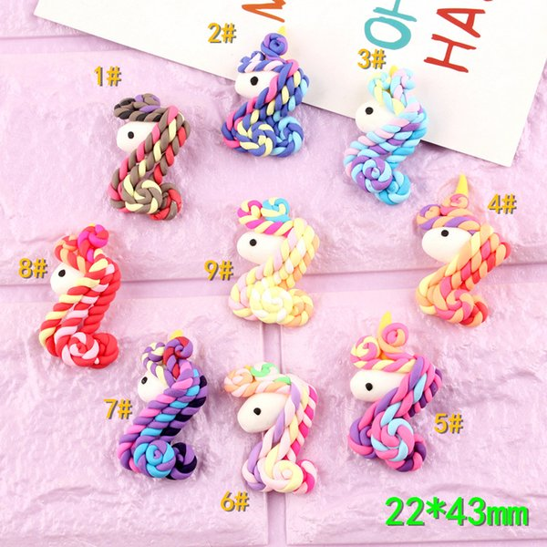 Mix 100pcs 22*43mm DIY Soft ceramics polymer clay Unicorn charms jewelry material craft ornament decoration cabochon for women deco