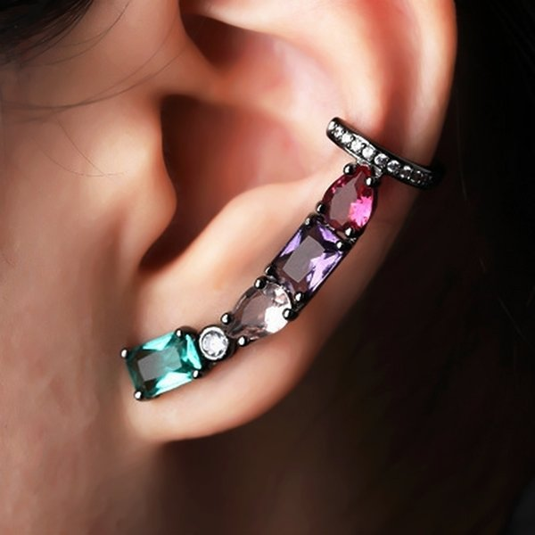 Multi Color Stud Earrings With Zirconia Clear Crystal Glass Ear Cuff Clip-on Female Earrings For Woman Jewelry Gifts Wholesale Y19050901
