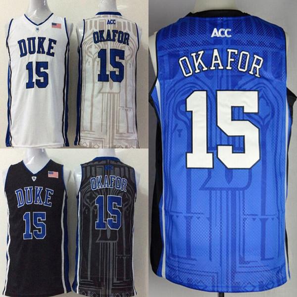 College hommes Duke Blue Devils maillots blanc noir bleu # 15 Jahlil Okafor taille adulte maillot de basket-ball cousu mélange commander livraison gratuite