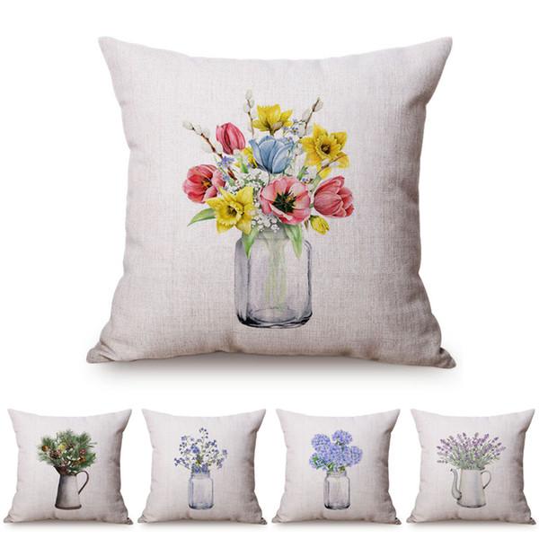 Colorful Jar Nordic floreale vaso di vetro casa Divano Piccolo fresco Cuscino decorativo copertura elegante viola Fiori di Cotone Lino Copricuscino