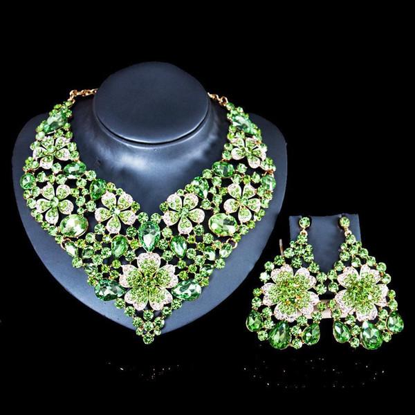 Новая мода Свадебные украшения наборы Полный австрийский кристалл ожерелье серьги наборы для женщин Bridal партии ювелирных изделий JS130