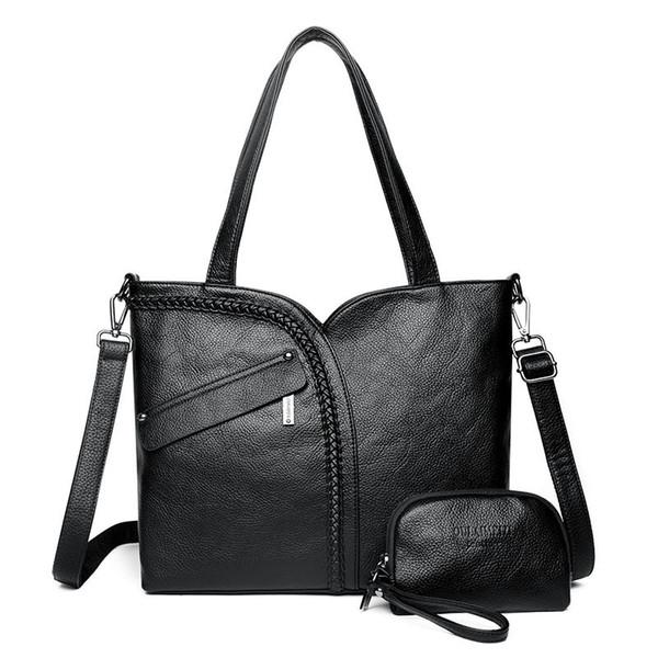 2019 New Women Bag Ladies Genuine Leather Handbags Female Shoulder Bag Large Capacity Tote Bag 2 Pcs Purses And Handbags Set