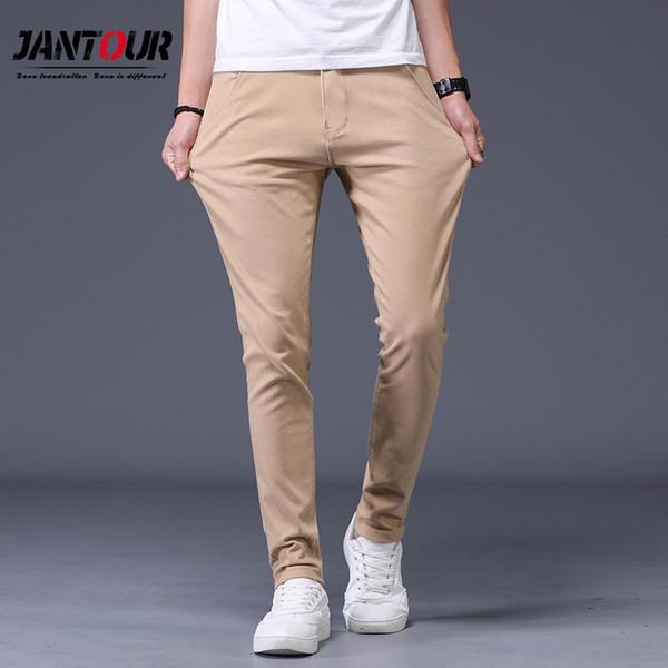 2019 nueva Moda Pantalones de algodón Hombres Primavera Verano Moda Clásica Slim Fit Casual Pantalones Masculinos de Alta Calidad 6 Colores Opcionales
