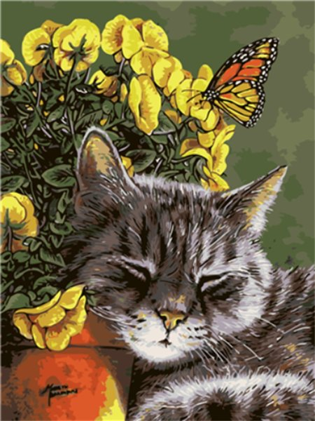 16x20'' Lazy Cat Sunbathing Under the Flowers of the Garden DIY Paint By Numbers Kits On Canvas Art Acrylic Oil Painting