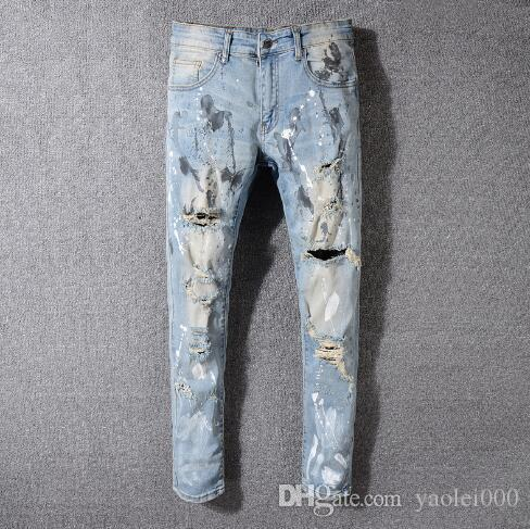 European and American high street trend hole men's jeans light blue old paint feet trousers men
