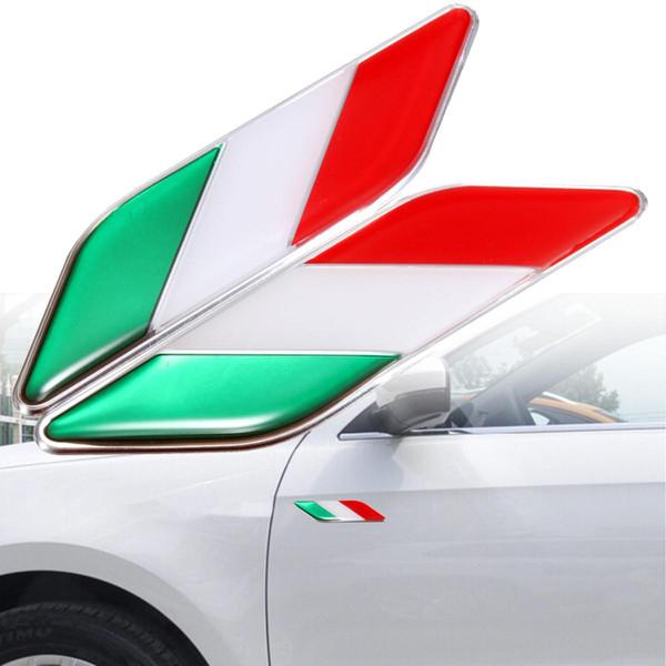2 adet 3D Itllian İtalya Bayrağı Sticker Rozeti Amblemler Çıkartması Dekor Araba Kamyon Laptop Için