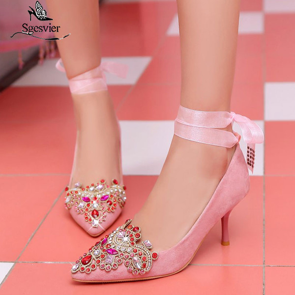 sgesvier 2020 new colorful crystal thin high heels shoes women pumps pointed toe diamond wedding party shoes g20