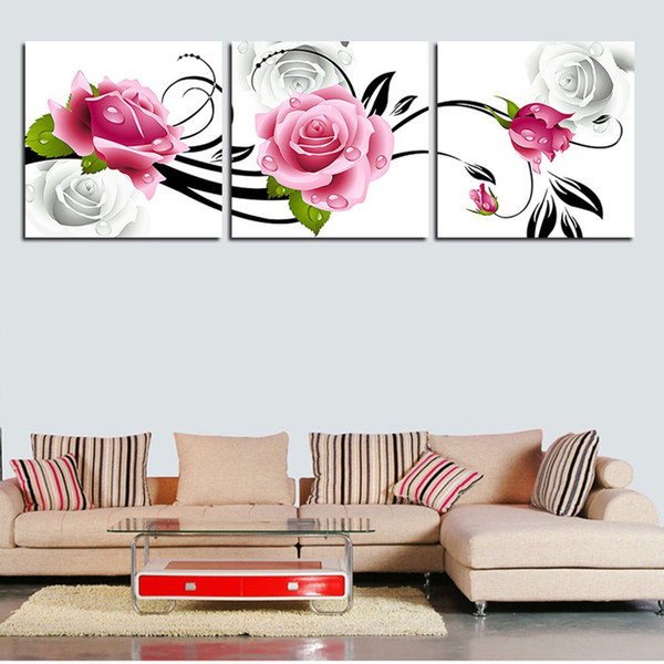 abstract red rose flower tulip decorative painting mural print poster 3 Pcs canvas painting pictures for living room wall art painting