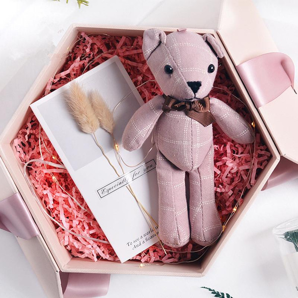 200pcs Mini Joint Bear Stuffed Plush Toys 20cm Cute Plaid Teddy Bears Pendant Dolls Gifts Birthday Wedding Party Decor