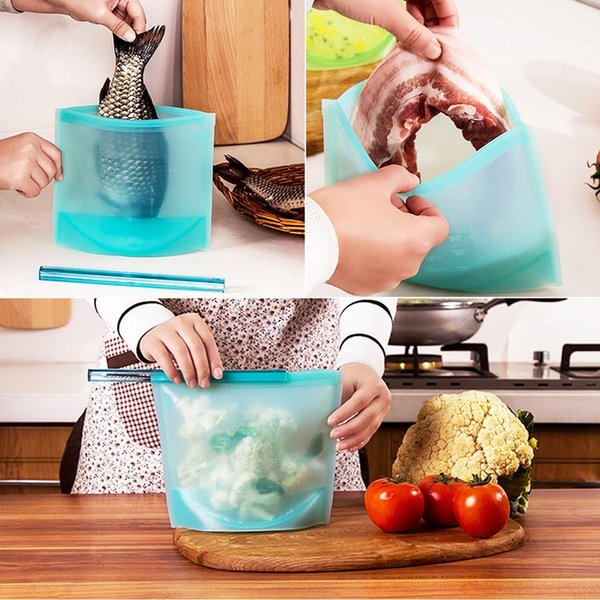 Reusable Silicone Vacuum Seal Food Fresh Bag Fruit Meat Milk Storage Containers Refrigerator Bag Ziplock Kitchen Organizer MMA2496
