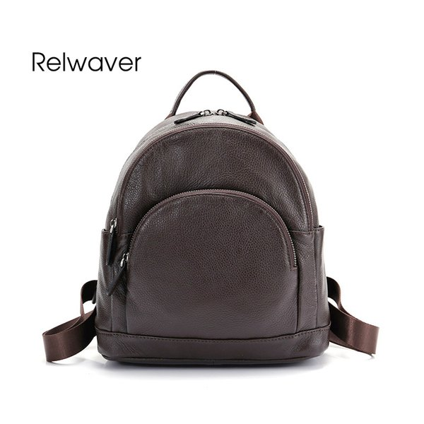 Relwaver women genuine leather backpack natural cow leather school bags black brown backpack middle size travel