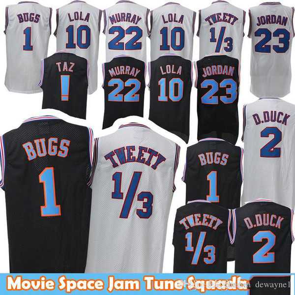 Venta al por mayor Película 23 Michael 1 Bugs Bunny Jersey! Taz 1/3 Tweety Space Jam Tune Squad 22 Bill Murray 10 Lola 2 D.DUCK Basketball Jersey negro