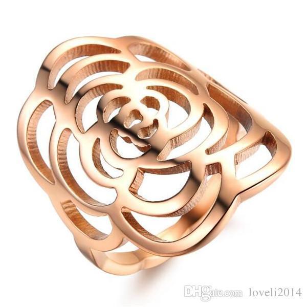 Nfn97 Jóias Ethnic Design Peônia anel da flor oco 2015 Partido banhado a ouro Mulheres Rose aço inoxidável Moda de Nova Ring, 391