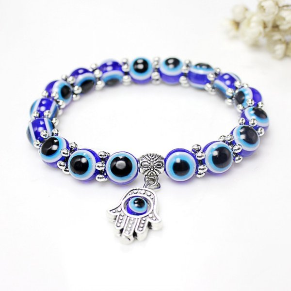 Free DHL Hot Sale Fatima Hamsa Blue Evil Eye Fashion Bracelets & Bangles Beads Turkish Pulseras Wristband Jewelry Rope Chain D122S Y