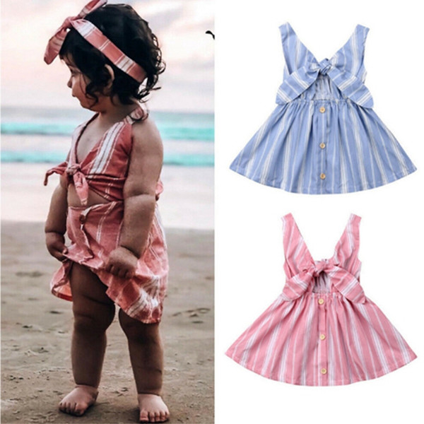 Baby Girl Dresses Striped Girls Beach Dress Sleeveless Bows Infant Princesses Dresses Toddler Designer Clothes Baby Clothing 2 Colors YW3985