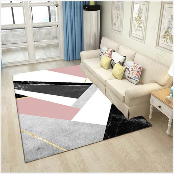Nordic Geometric Pink Black Marble Carpet And Rugs For Bedroom Living Room Floor Mat Kitchen Mat Carpet Bedroom