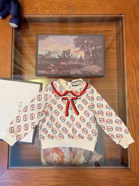 Девочки кофты детская дизайнерская одежда элегантная осенняя мода хлопок пуловер с буквами с красивой брошью design2019
