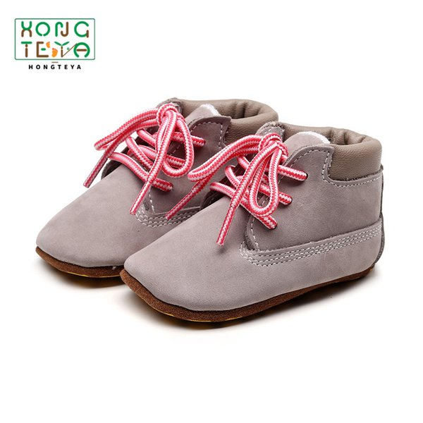 2019 Baby Girls Boys Casual shoes Genuine Leather Lace up First Walkers Toddler Boot Soft Sole Baby Booties for girl boys