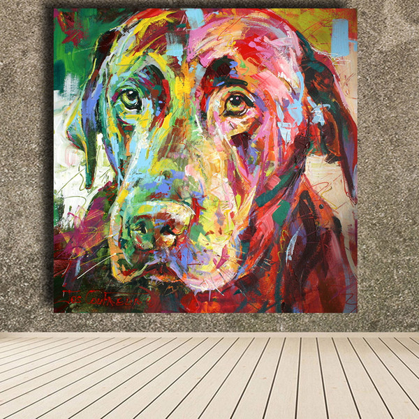 Colorful High Quality Handpainted & HD Print Modern Abstract Animal Art Oil Painting Black Labrador On Canvas Wall Art Office Deco a04