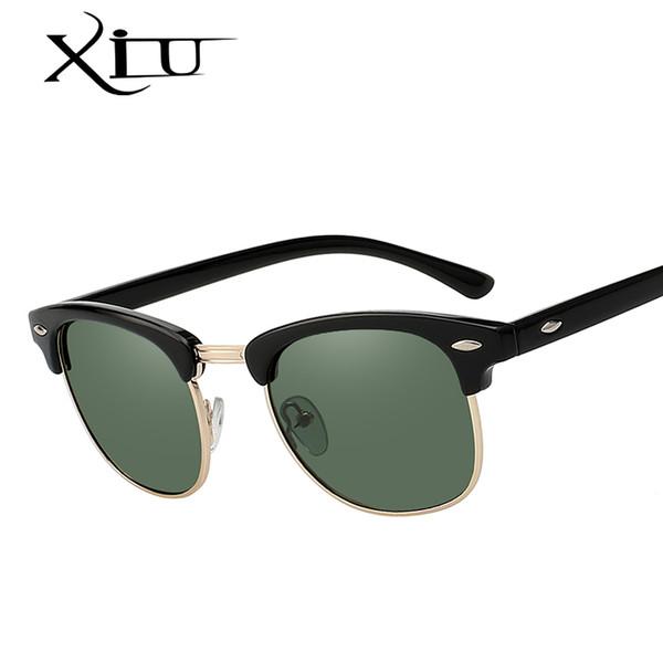 XIU Sunglasses Polarized Men Women Semi Rimless Sunglass Brand Design Vintage Sun glasses for Women Top Quality