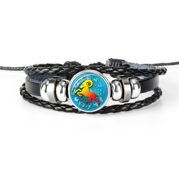 2019 Fashion Genuine Leather Rope Beaded Cuff Bracelet Vintage 12 Horoscope Zodiac Aries Time Gem Glass Cabochon Charm Jewelry for women men