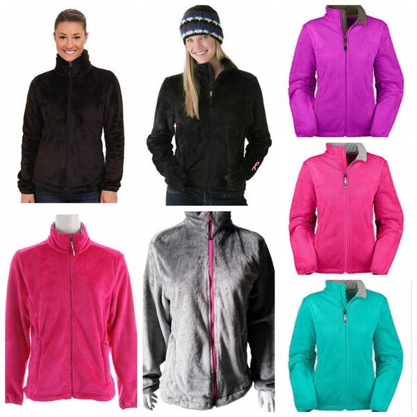Mujeres North Winter Fleece Chaquetas 9 colores Stand Collar Zip Up Outwear Abrigo al aire libre a prueba de viento Tops OOA6466