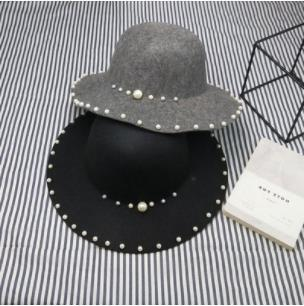 Spring Korean Pearl Woo Cap Dome Hat Beaded Big Sun Cap Elegant Wave Hat Women's Tide
