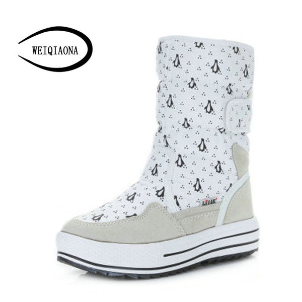 WEIQIAONA 2019 Winter Women Shoes Round Toe Short Boots High Heels Ladies Shoes Dress Warming Snow Boots Hook & Loop