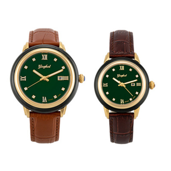 2019 пара часы женщина часы бизнес нефрита мужские часы нефрита механический кожаный ремешок карнавал творческая личность женские часы