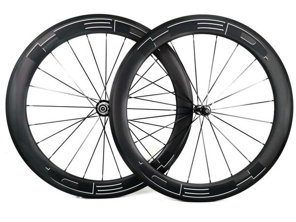 Ruote in carbonio da strada da 700C, profondità 60mm, larghezza 25mm, copertoncino da bici da strada / ruote tubolari in carbonio, cerchio a forma di U, finitura UD opaca, colore bianco, decalcomanie nere
