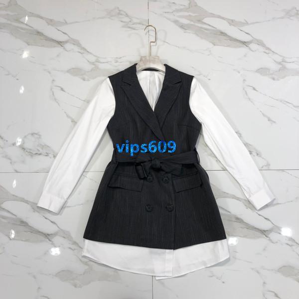 Haut de gamme femmes filles robes Col rond manches longues Veste de gilet robes féminines faux costume deux pièces Jupe droite SML