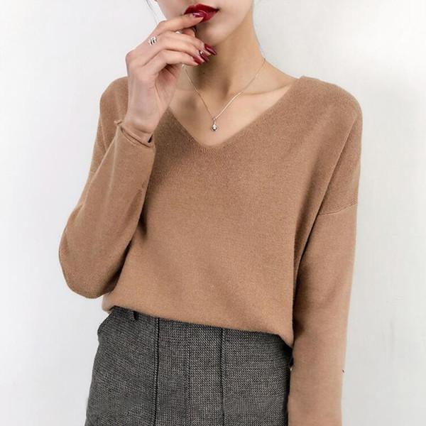 DTSTARZG V Neck Sweater Female Autumn Winter Fashion Korean Knitted Jumper For Women Ladies Pullover Tricot Pull Femme
