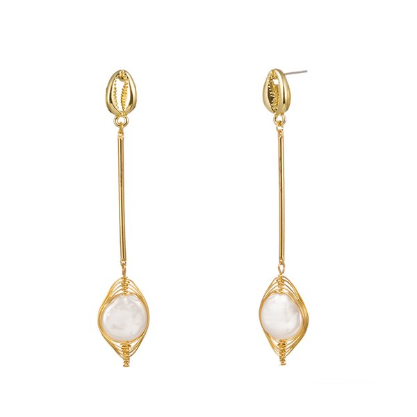 Natural Mother Pearl Shell Earrings Creative Ear Hook Alloy Tassel Chain Natural Freshwater Pearl Drop Earrings Women Fashion Accessories