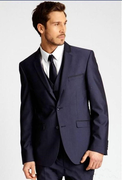 New Custom Made Due pulsanti Abiti da sposa Navy Blue smoking dello sposo del risvolto della tacca Best Man Groomsman degli uomini (Jacket + Pants + Vest + Tie) 4085