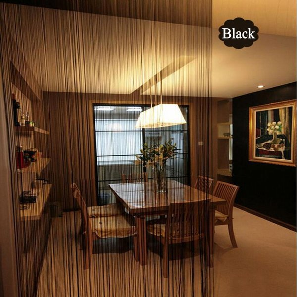 Solid Color String Curtain 300*300CM Black White Green Classic Line Curtain Window Blind Valance Room Divider Door Decorative