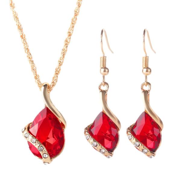 La mode des femmes strass incrusté de bijoux ensemble pendentif goutte collier crochet boucles d'oreilles chaude