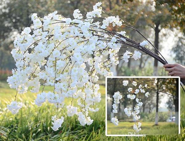 138 CM kiraz çiçekleri dolu romantik yapay dalları asılı rattan çiçekler düğün süslemeleri ile dekore 50 adet / grup