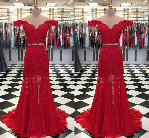 Alluring Discount Red 2 Pieces Lace Evening Dresses Formal Gowns Mermaid Off the shoulder with Sleeves Applique Chiffon Prom Pageant Dress