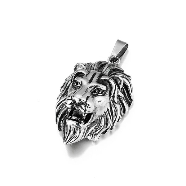 Animal Lion Head Pendent 316L Stainless Steel Men Necklace Chain Charm Hiphop Lion Pendants Necklace Fashion Jewelry For Men