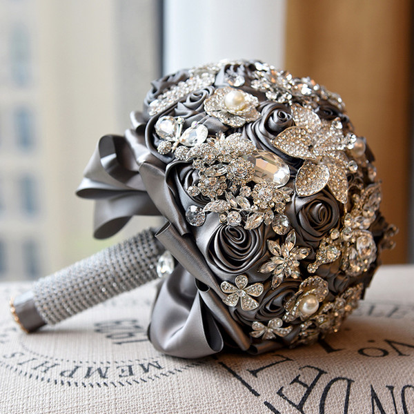 Новый стиль ручной работы искусственная атласная роза с блестящими кристаллами горный хрусталь свадебные букеты романтическая свадьба свадебные цветы