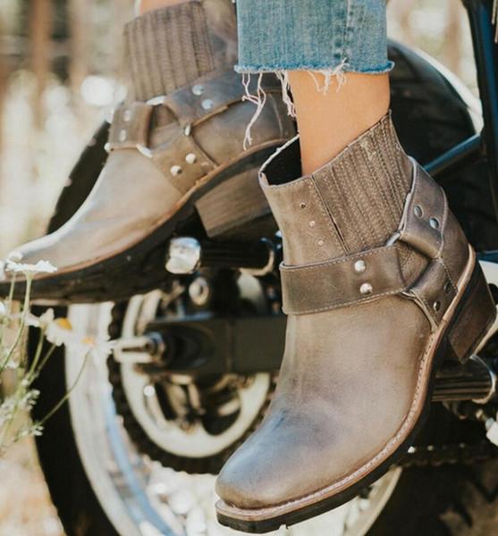 Zapatos Von Chaussures Leder Großhandel Frauen Pu Vintage Für Motorradstiefel Dealbag Heels Mujer Schuhe Stiefeletten Femme Mid Damen Plattform 0OmyNvw8n