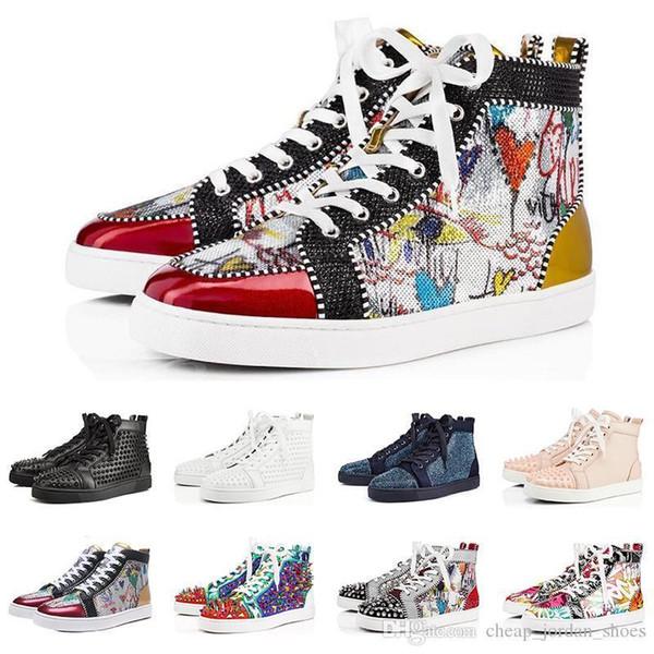 2019 Designer de moda de luxo Red Bottoms shoes Studded Spikes Flats sapatilhas Para As Mulheres Dos Homens amantes Do Partido casual Sneaker tamanho 36-47