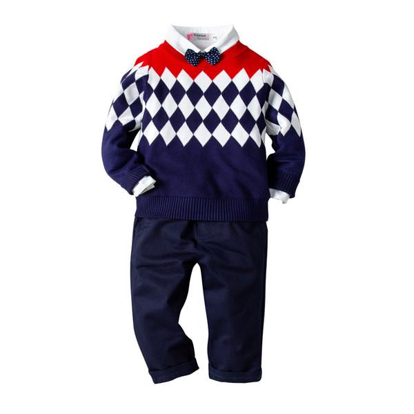 Pure cotton lozenge sweater shirt trousers bow tie gentleman's four-piece party dress suit