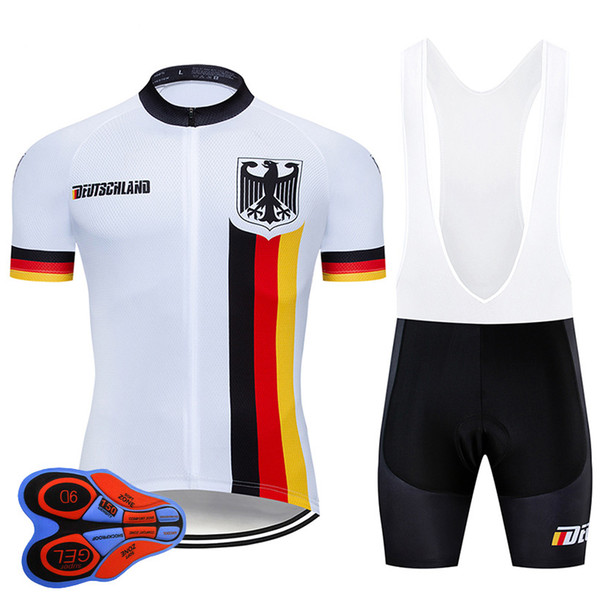 2019 Pro team Germany Summer Cycling Jersey 9D Bib Set MTB Uniform Red Bicycle Clothing Quick Dry Bike Wear Ropa ciclismo gel pad